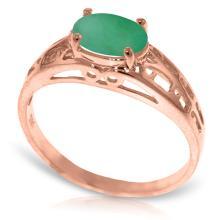 Genuine 1.15 ctw Emerald Ring Jewelry 14KT Rose Gold  - ID#N25K1-WGG2395
