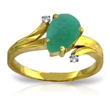 Genuine 1.01 ctw Emerald & Diamond Ring Jewelry 14KT Yellow Gold  - ID#F36R2-WGG4274