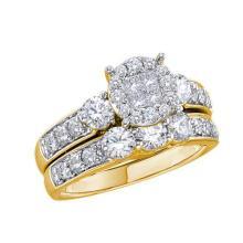 14K Yellow Gold Jewelry 1.5 ctw Diamond Bridal Ring Set - ID#Z138M2-WGD46343