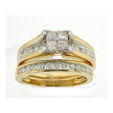 14K Yellow Gold Jewelry 1.0 ctw Diamond Bridal Ring Set - ID#J84X1-WGD30536