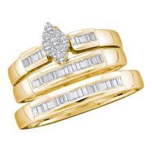 14K Yellow Gold Jewelry 0.50 ctw Diamond Trio Ring Set - ID#F66L2-WGD19769
