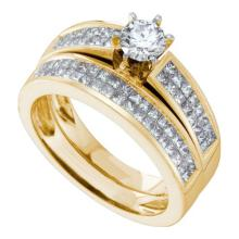 14K Yellow Gold Jewelry 1.3 ctw Diamond Bridal Ring Set - ID#W144P2-WGD26832