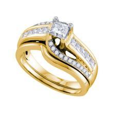 14K Yellow Gold Jewelry 1.0 ctw Diamond Bridal Ring Set - ID#H120Z1-WGD70265
