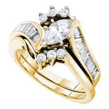 14K Yellow Gold Jewelry 1.25 ctw Diamond Bridal Ring Set - ID#T192F1-WGD22741
