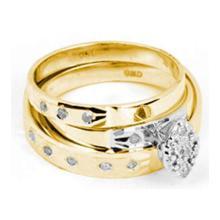 14K Yellow Gold Jewelry 0.10 ctw Diamond Trio Ring Set - ID#J30X1-WGD23392