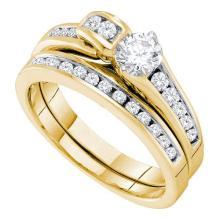 14K Yellow Gold Jewelry 0.95 ctw Diamond Bridal Ring Set - ID#T129F6-WGD45701
