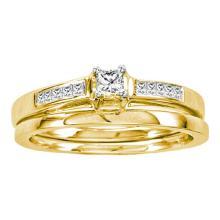 14K Yellow Gold Jewelry 0.25 ctw Diamond Bridal Ring Set - ID#R45A7-WGD19836