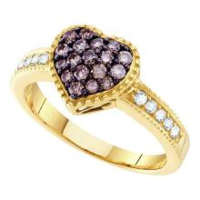 14K Yellow Gold Jewelry 0.47 ctw White Diamond & Cognac Diamond Ladies Ring - ID#J45X7-WGD51844