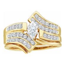 14K Yellow Gold Jewelry 0.50 ctw Diamond Bridal Ring Set - ID#L63N7-WGD21540