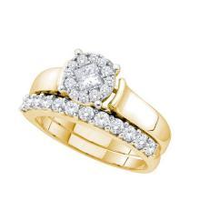 14K Yellow Gold Jewelry 1.0 ctw Diamond Bridal Ring Set - ID#J120X1-WGD52778