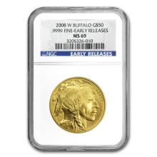 One 2008-W 1 oz Gold Buffalo MS-69 NGC (Early Releases) - WJA67492
