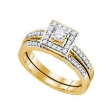 14K Yellow Gold Jewelry 0.50 ctw Diamond Bridal Ring Set - ID#X63W7-WGD74340