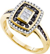 14K Yellow Gold Jewelry 0.50 ctw White Diamond & Black Diamond Ladies Ring - ID#Y48H1-WGD53627