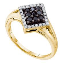 14K Yellow Gold Jewelry 0.25 ctw White Diamond & Black Diamond Ladies Ring - ID#P18J1-WGD66719