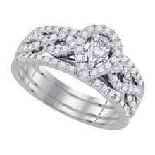 14K Yellow Gold Jewelry 0.88 ctw Diamond Bridal Ring Set - ID#K102V2-WGD92917