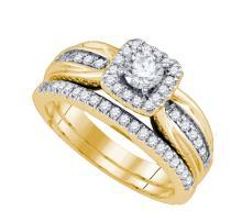 14K Yellow Gold Jewelry 0.71 ctw Diamond Bridal Ring Set - ID#J114X2-WGD73537
