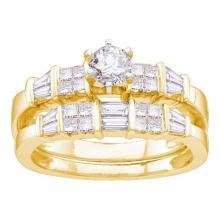 14K Yellow Gold Jewelry 1.0 ctw Diamond Bridal Ring Set - ID#Z111M7-WGD14377