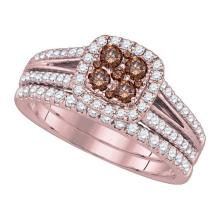 14K Yellow Gold Jewelry 1.0 ctw White Diamond & Cognac Diamond Bridal Ring Set - ID#L102N2-WGD86803