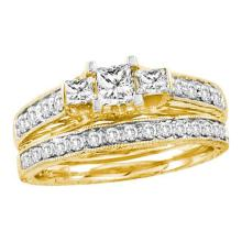 14K Yellow Gold Jewelry 0.96 ctw Diamond Bridal Ring Set - ID#R114A2-WGD29470
