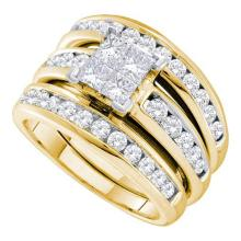 14K Yellow Gold Jewelry 2.0 ctw Diamond Bridal Ring Set - ID#H198Z2-WGD38837
