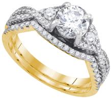 14K Yellow Gold Jewelry 1.37 ctw Diamond Bridal Ring Set - ID#L258N2-WGD88504