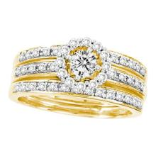 14K Yellow Gold Jewelry 0.70 ctw Diamond Bridal Ring Set - ID#Z102M2-WGD22676