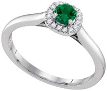 14K White Gold Jewelry 0.33 ctw Emerald & Diamond Ladies Ring - WGD95345