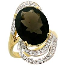 Natural 11.2 ctw smoky-topaz & Diamond Engagement Ring 14K Yellow Gold - WSC#R309951Y07