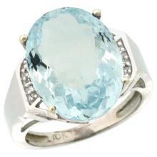 Natural 11.02 ctw Aquamarine & Diamond Engagement Ring 10K White Gold - WSC#CW912131