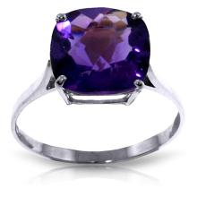 Genuine 3.6 ctw Amethyst Ring Jewelry 14KT White Gold  - WGG#2311