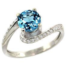 Natural 1.24 ctw swiss-blue-topaz & Diamond Engagement Ring 10K White Gold - WSC#10D312723W04