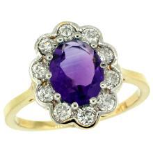 Natural 2.34 ctw Amethyst & Diamond Engagement Ring 14K Yellow Gold - WSC#C319661Y01