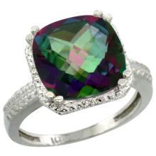 Natural 5.96 ctw Mystic-topaz & Diamond Engagement Ring 10K White Gold - WSC#CW908145