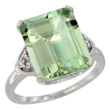Natural 5.44 ctw green-amethyst & Diamond Engagement Ring 10K White Gold - WSC#CW902177