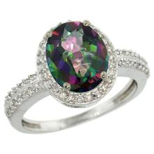 Natural 2.56 ctw Mystic-topaz & Diamond Engagement Ring 10K White Gold - WSC#CW908138
