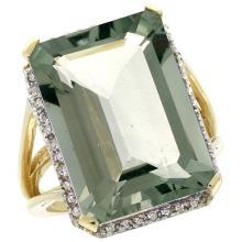 Natural 15.06 ctw green-amethyst & Diamond Engagement Ring 14K Yellow Gold - WSC#CY402133