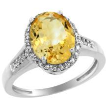 Natural 2.49 ctw Citrine & Diamond Engagement Ring 10K White Gold - WSC#CW909109
