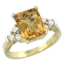 Natural 2.86 ctw whisky-quartz & Diamond Engagement Ring 10K Yellow Gold - WSC#CY926167