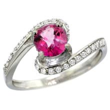 Natural 1.24 ctw pink-topaz & Diamond Engagement Ring 14K White Gold - WSC#D312723W06