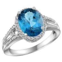 Natural 2.72 ctw london-blue-topaz & Diamond Engagement Ring 10K White Gold - WSC#CW905174