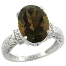 Natural 5.53 ctw Smoky-topaz & Diamond Engagement Ring 14K White Gold - WSC#CW407200
