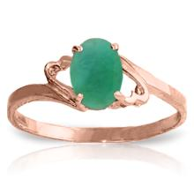 Genuine 0.75 ctw Emerald Ring Jewelry 14KT Rose Gold  - WGG#1854