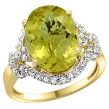 Natural 5.89 ctw lemon-quartz & Diamond Engagement Ring 14K Yellow Gold - WSC#R275011Y27