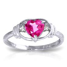Genuine 0.96 ctw Pink Topaz & Diamond Ring Jewelry 14KT White Gold  - WGG#2142