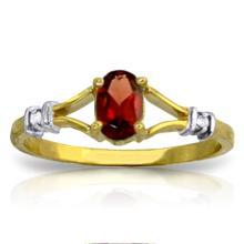 Genuine 0.46 ctw Garnet & Diamond Ring Jewelry 14KT Yellow Gold  - WGG#1253