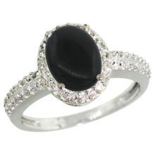 Natural 1.95 ctw Onyx & Diamond Engagement Ring 14K White Gold - WSC#CW417139