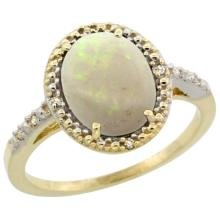 Natural 1.43 ctw Opal & Diamond Engagement Ring 10K Yellow Gold - WSC#CY920111
