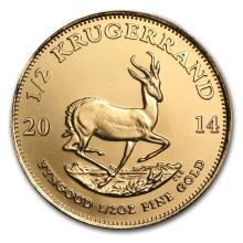 One 2014 South Africa 1/2 oz Gold Krugerrand - WJA79038