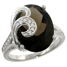 Natural 11.18 ctw smoky-topaz & Diamond Engagement Ring 14K White Gold - WSC#R292651W07
