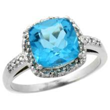 Natural 3.92 ctw Swiss-blue-topaz & Diamond Engagement Ring 10K White Gold - WSC#CW904136